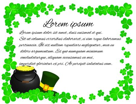 St. Patricks Day Frame with Shamrock Pot and Leprechaun Hat Çizim