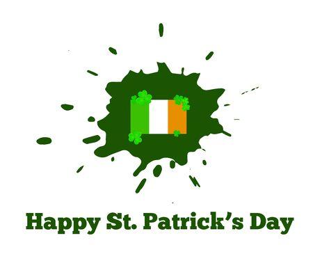 St. Patricks Day Irish Flag with Grunge Splash