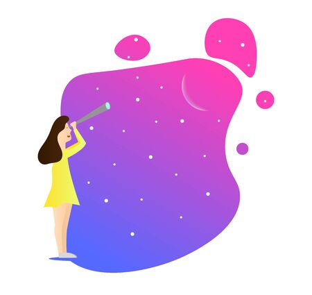 Girl Watching Stars and Space Illustration Çizim