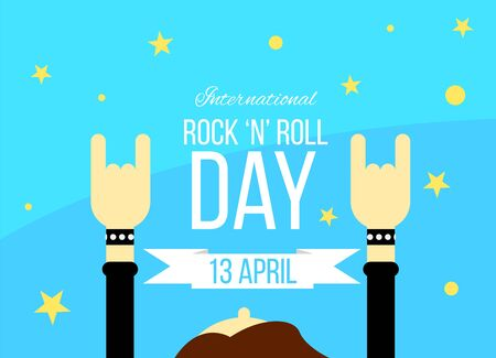 Rock n Roll Day Poster with Rockers Hands Up and Stars Flat