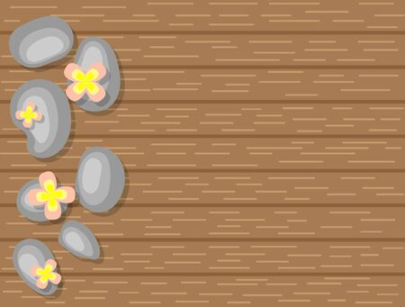 Spa Pebbles and Pink Flowers on Wooden Background Top View Çizim