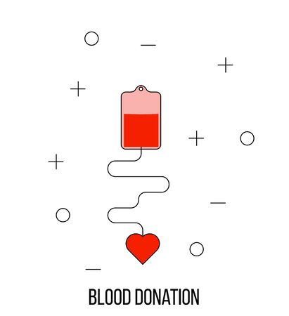 Blood Donation Concept with Heart Line Art