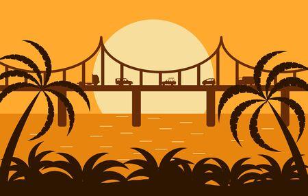 Bridge with traffic in the sunlight