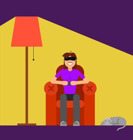 Girl with Augmented Reality Glasses in Armchair