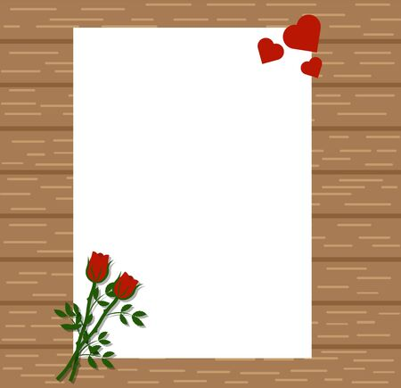 Paper with Red Roses and Hearts on Wooden Background