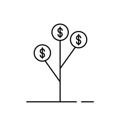 Money Tree Symbol Line Art