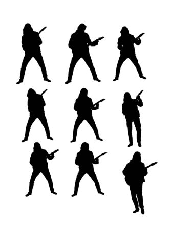 Long Haired Guitarist Silhouette Set Çizim