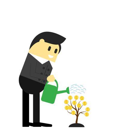 Businessman Watering a Money Tree Çizim