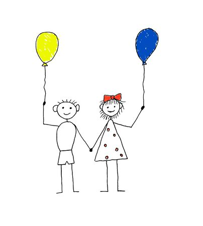 Boy and Girl Down Syndrome Awareness Child Drawing