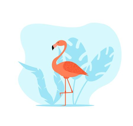 Flamingo with Tropical Leaves Illustration