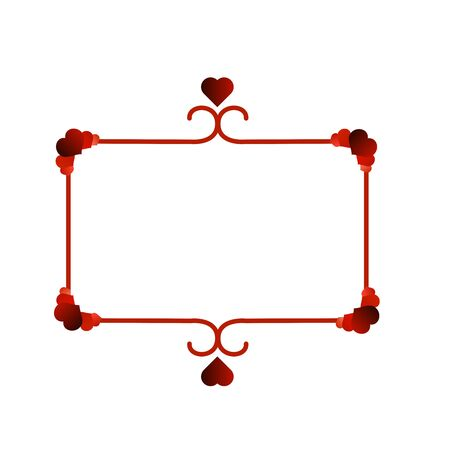 Frame with Colorful Red Hearts