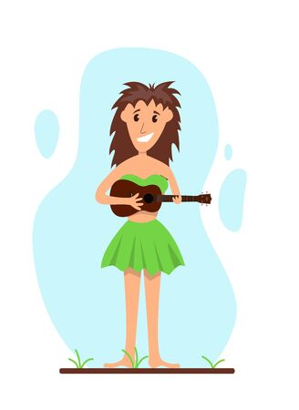 Happy Hawaiian Ethnic Girl with Ukulele
