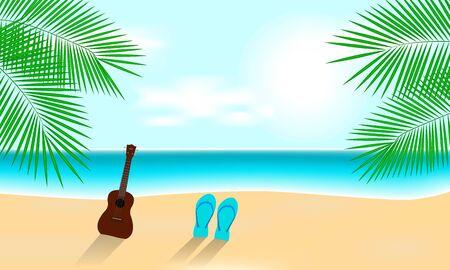 Sunny Summer Vacation Beach with Ukulele Illustration