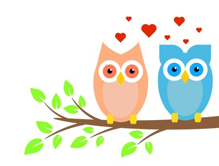 Two Cute Owls Boy and Girl in Love on Tree