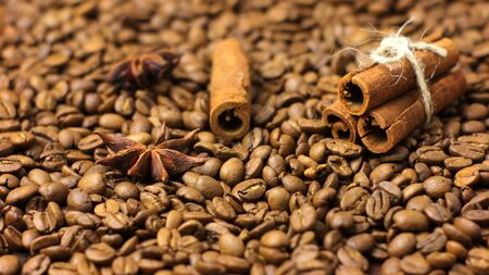 Coffee Beans with Anise and Cinnamon Spices