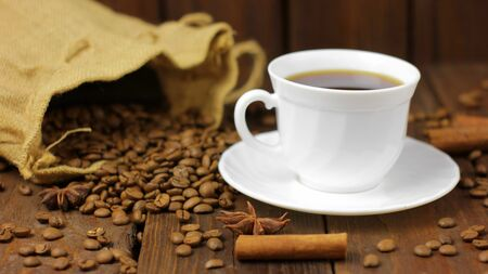 Coffee Bag on Wooden Background Stock Photo