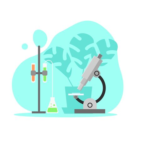 Science lab with microscope flat art