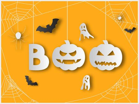 Boo Word with Pumpkins and Spider Webs Hanging from Above