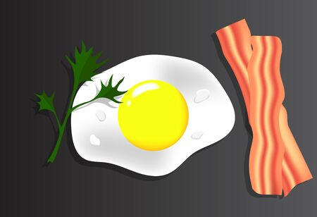 Breakfast with Bread and Bacon Realistic Vector Food Art Stock Illustratie