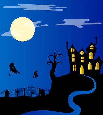 Castle and Moonlit Graveyard Silhouettes
