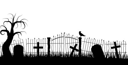 Halloween Graveyard Fence Silhouette with a Raven and Tombstones Çizim