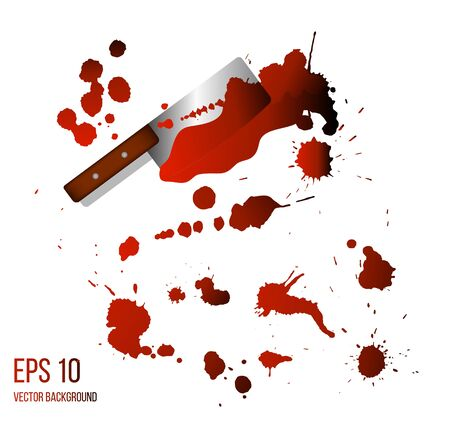 Kitchen Chop Ax with Blood Splashes Realistic on White