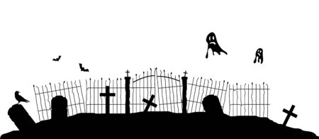 Silhouette of Graveyard Fence with Flying Ghosts. Halloween theme vector art Çizim