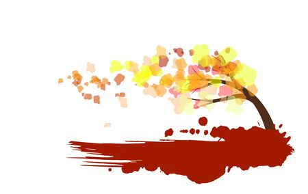 Abstract autumn tree in the wind illustration