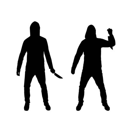 Criminal in the hood with a knife silhouette Illustration
