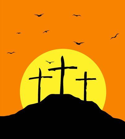 Golgotha mount crosses in the sunlight vector illustration