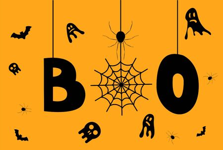 Halloween Boo Word with Ghosts spiders and skulls