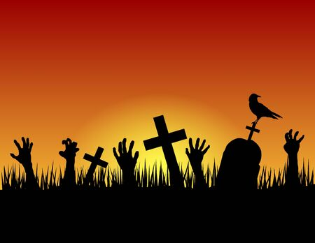 Scary Halloween Graveyard with Sunset and Zombie Hands