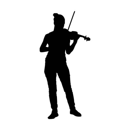 Silhouette of a Girl Playing Violin Stock Illustratie