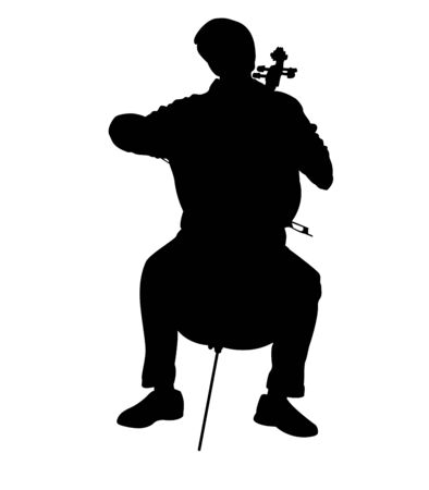 Silhouette of Young Man Playing Cello