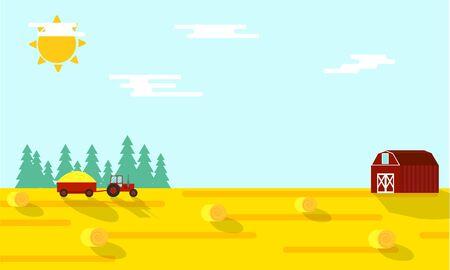 Autumn Farming Harvest Time Flat Illustration
