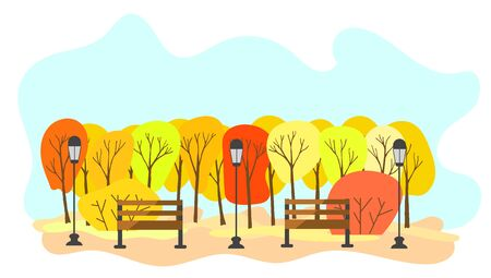 Beautiful autumn park with benches and lanterns