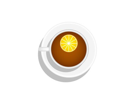 Cup of tea with lemon isolated on white top view