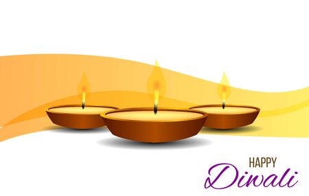 Happy Diwali Lamps Realistic with Elegant Background