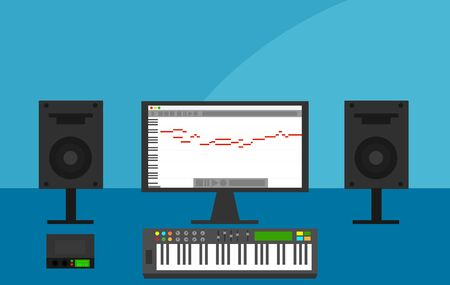 Computer with DAW Session in Home Recording Studio