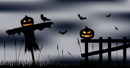 Pumpkin Head Scarecrow with Fence Raven and Old Fence