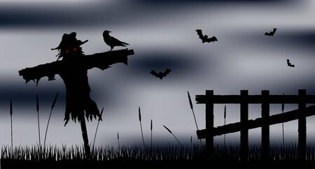 Scarecrow Silhouette in the Field with the Fence at Night Иллюстрация