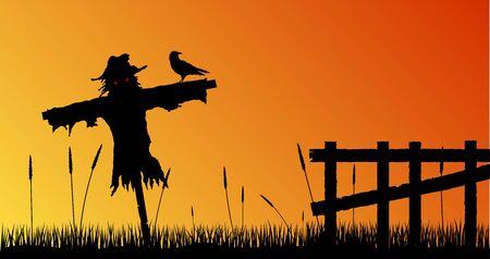 Silueta de espantapájaros en el campo con valla en Scary Sunset