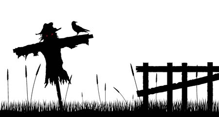 Scarecrow Silhouette with Fence in the Countryside Isolated on White