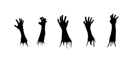 Zombie Hands Silhouettes Isolated