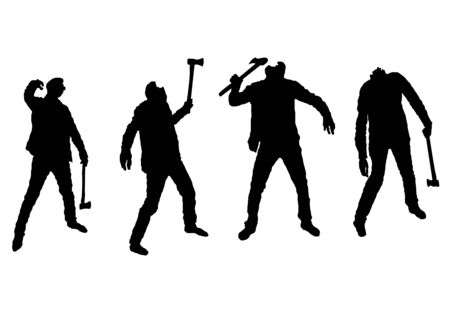 Waling Dead Zombies with Ax Silhouette Set