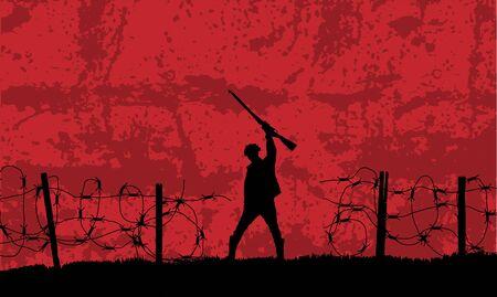 Soldat Battlefield Win Silhouette avec du fil de fer barbelé sur fond rouge