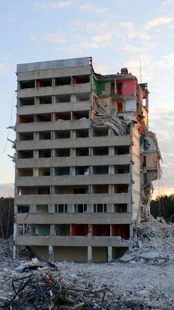 Block of flats building ruins after war or during demolition Foto de archivo
