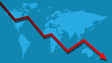 Recession Falling Economy Graph on Blue World Map