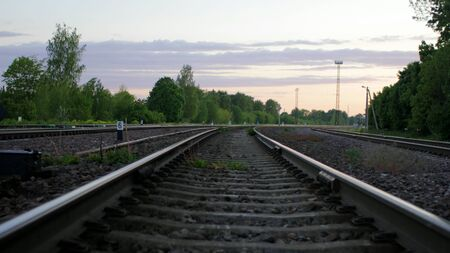 Railways Low Angle at Dusk in aRural Area 版權商用圖片