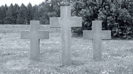 Three Crosses in a Field in Memory of WW2 Victims